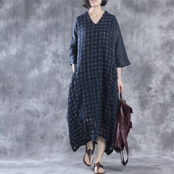 Dress - Women  V-neck Linen Dress(with Sleeveless Dress )