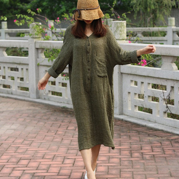 Women vintage cotton linen long sleeve loose dress - Buykud