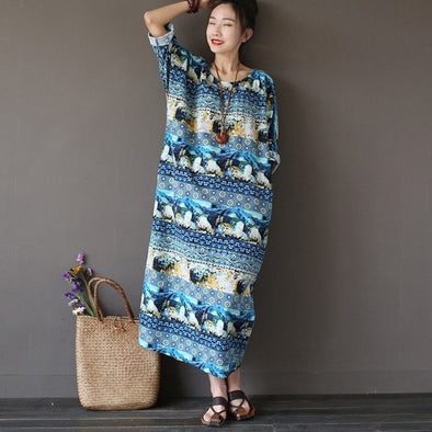 Women vintage cotton linen loose dress - Buykud