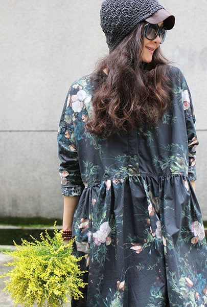 Dress - Women Vintage Long Sleeve Floral Printing Loose Pullover Cotton Dresses
