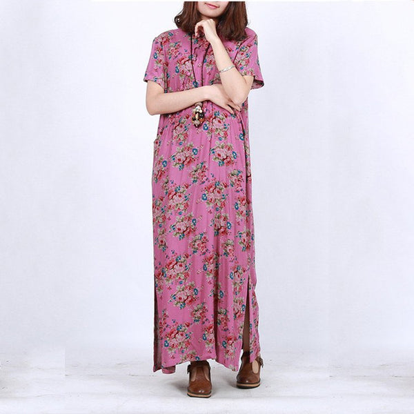 Dress - Women Vintage Printing Cotton Linen Short Sleeve Dress