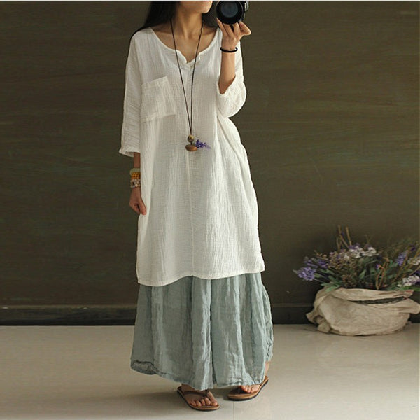 Dress - Women White  Summer Cotton Linen Shirt Dress