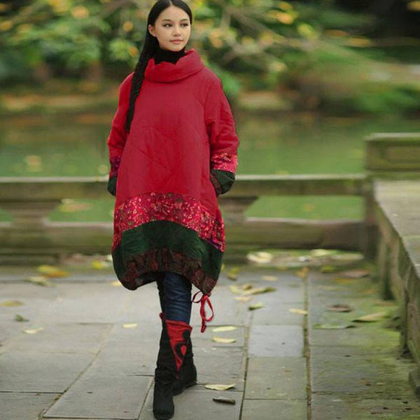 Dress - Women Winter Ethnic Style Loose Mixed Color Cotton Linen Dress