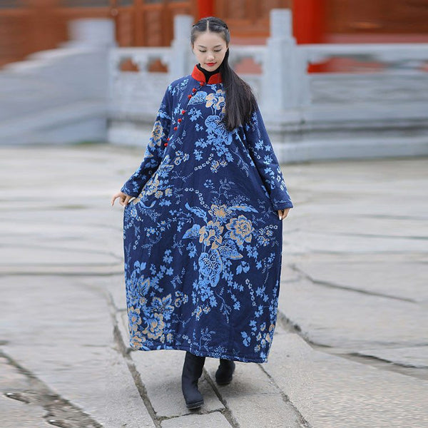 Dress - Women Winter Ethnic Style Printing Loose Cotton Linen Dress