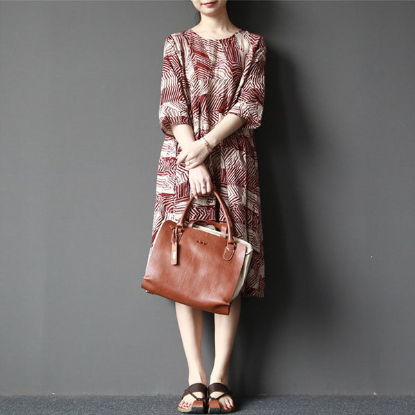 Women cotton linen Stripe printed loose dress - Tkdress  - 1