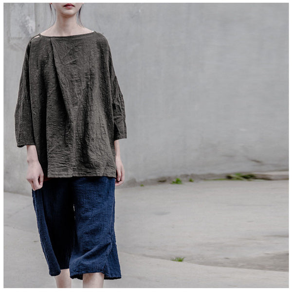 Women linen vintage loose T-shirt - Tkdress  - 1