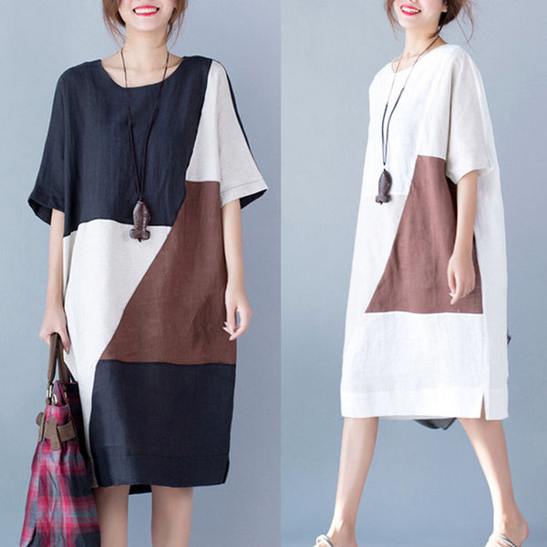 Women summer mixed color loose cotton linen dress - Buykud