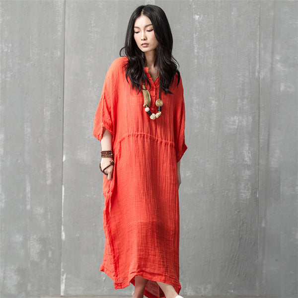 Women summer solid color cotton robe