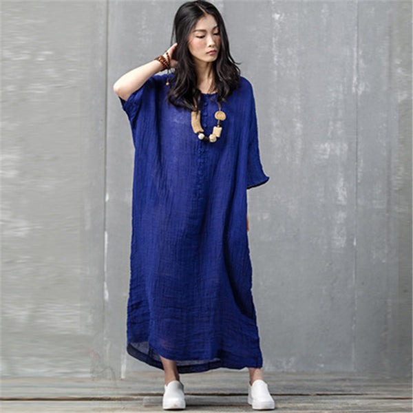 Women summer solid color cotton loose robe