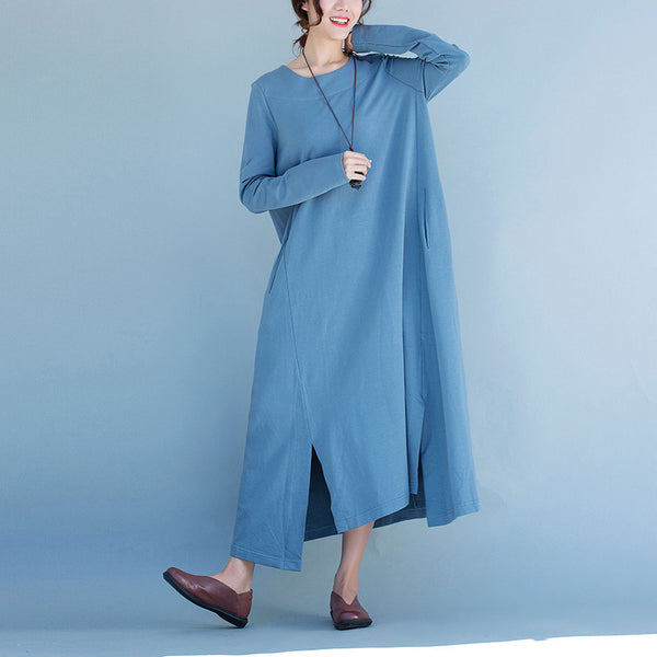 Women cotton long sleeve dress