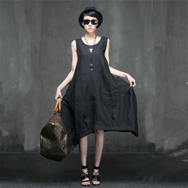 Women round collar loose Linen vest dress - Buykud