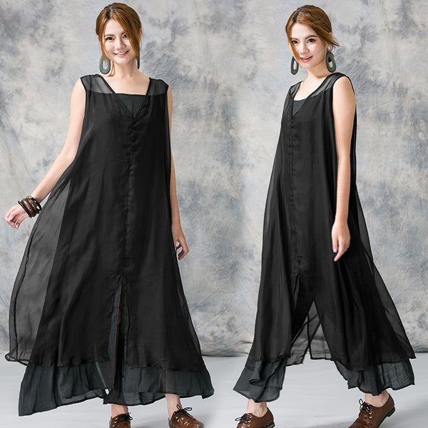 Women summer loose cotton vest dress