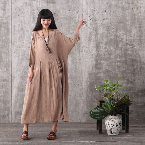 Women bat sleeve vintage loose pullover cotton linen dress - Buykud