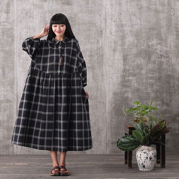 Women black bat sleeve Plaid loose pullover cotton plus size dress - Buykud