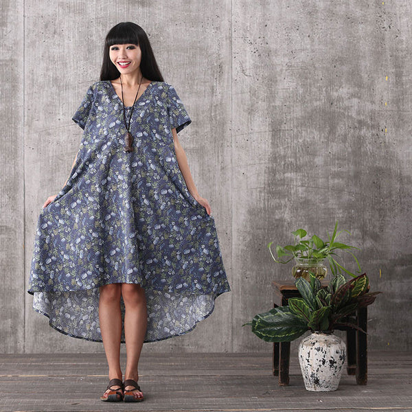 Women summer casual short sleeve floral printing irregular loose cotton linen plus size high low dress