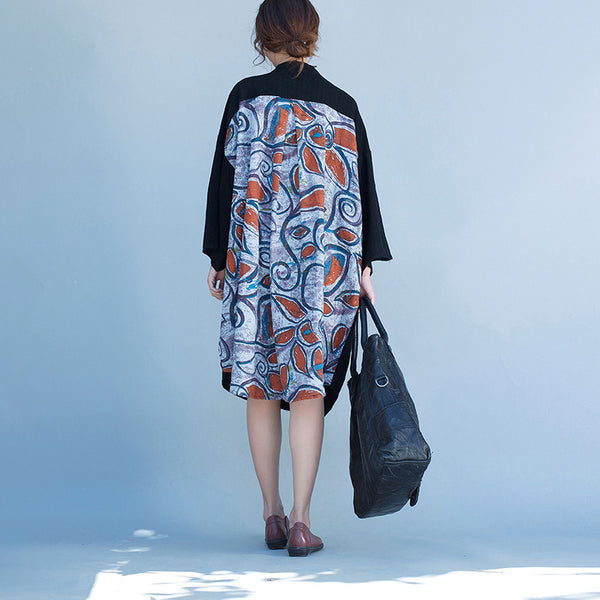 Women linen printing loose shirt dress