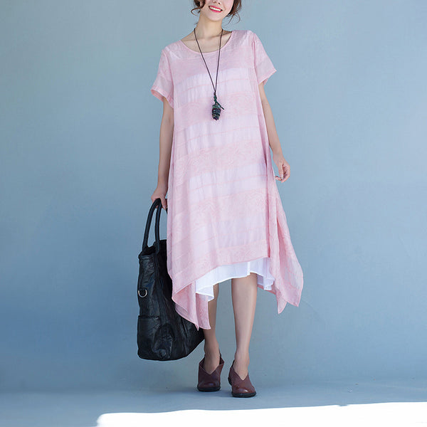 Women summer cotton linen loose dress
