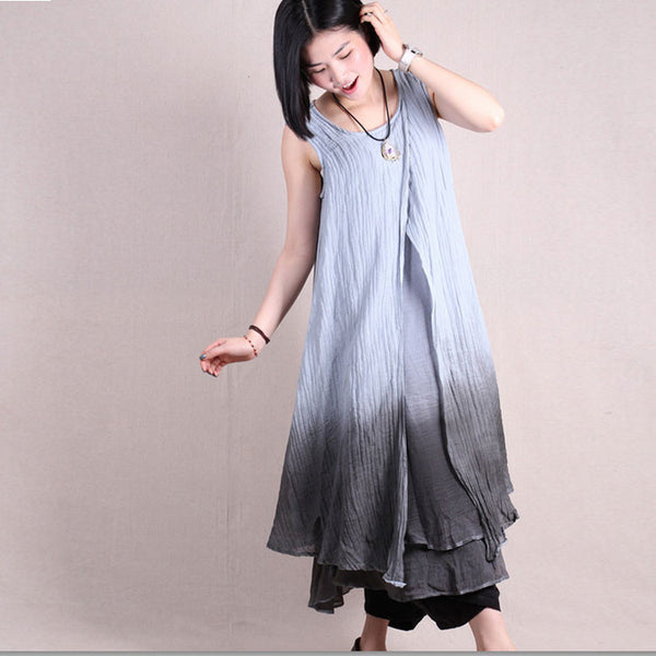 Women summer sleeveless irregular mixed color loose linen dresses