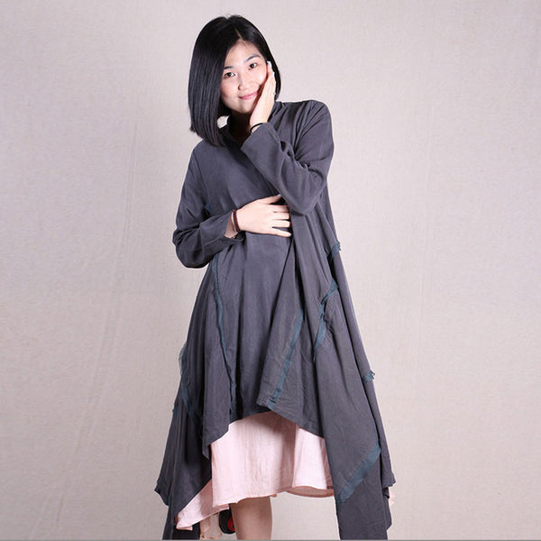 Women vintage long sleeve irregular loose cardigan tencel long coat - Buykud