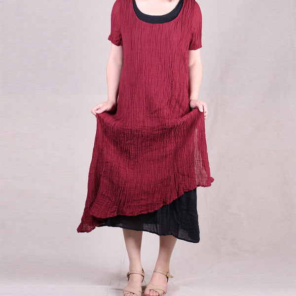 Women summer short sleeve irregular fake two piece loose pullover linen long dresses - Buykud