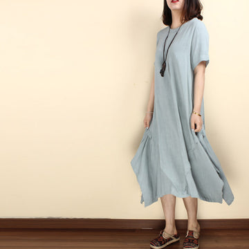 Women summer cotton linen short sleeve irregular dress - Buykud