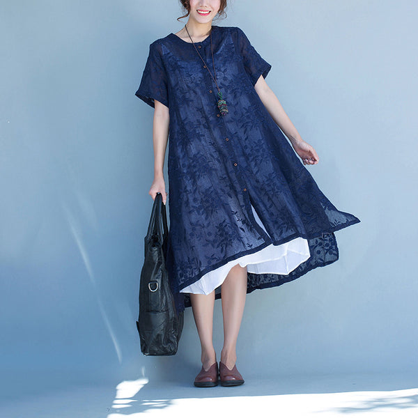 Women loose summer linen dress - Buykud