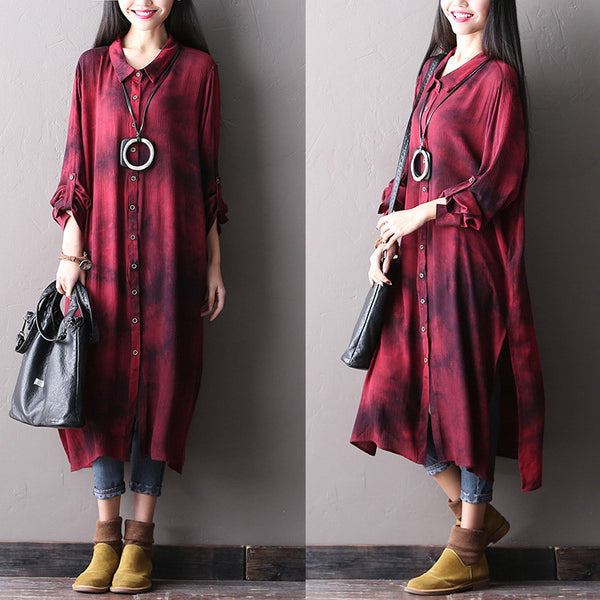 Women long spring cotton shirt dress - Tkdress