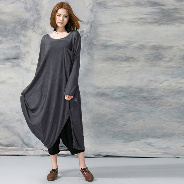 Women summer long sleeve cotton linen loose dress