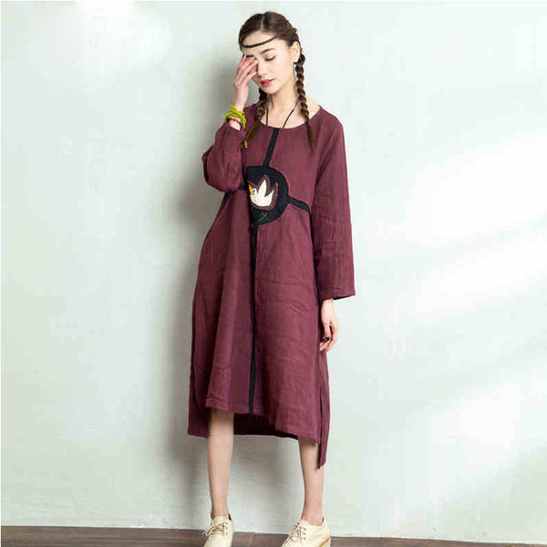 Women spring summer cotton linen loose dress - Tkdress  - 1