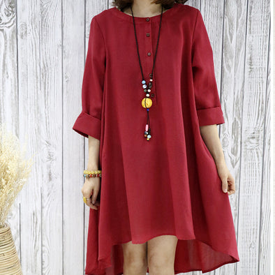 Women Spring Autumn Loose Plain Dress - Buykud