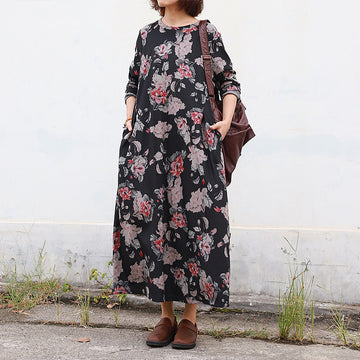 Buykud Retro Beautiful Flower Print Casual Loose Dress