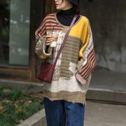 Buykud Bat Sleeve Spliced Printed Loose Sweater