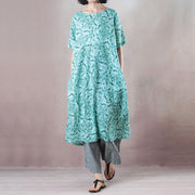 Casual Round Neck Green Short Sleeve Loose Dress