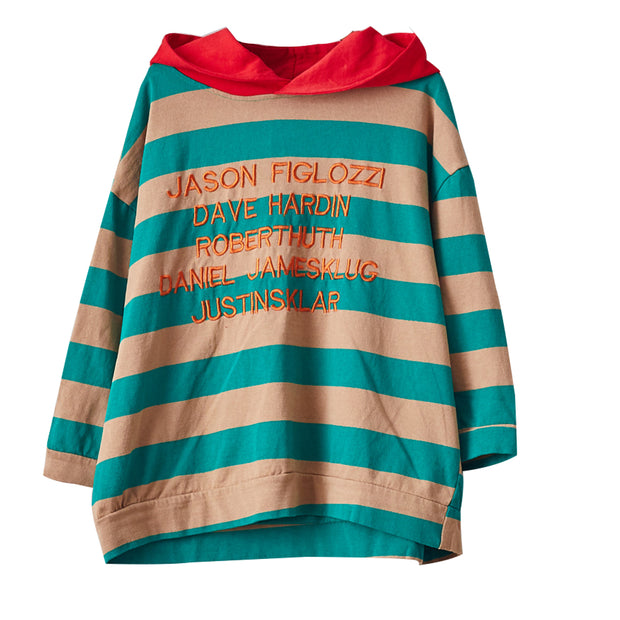 Buykud Stripes And Embroidered Letters Loose Hoodie