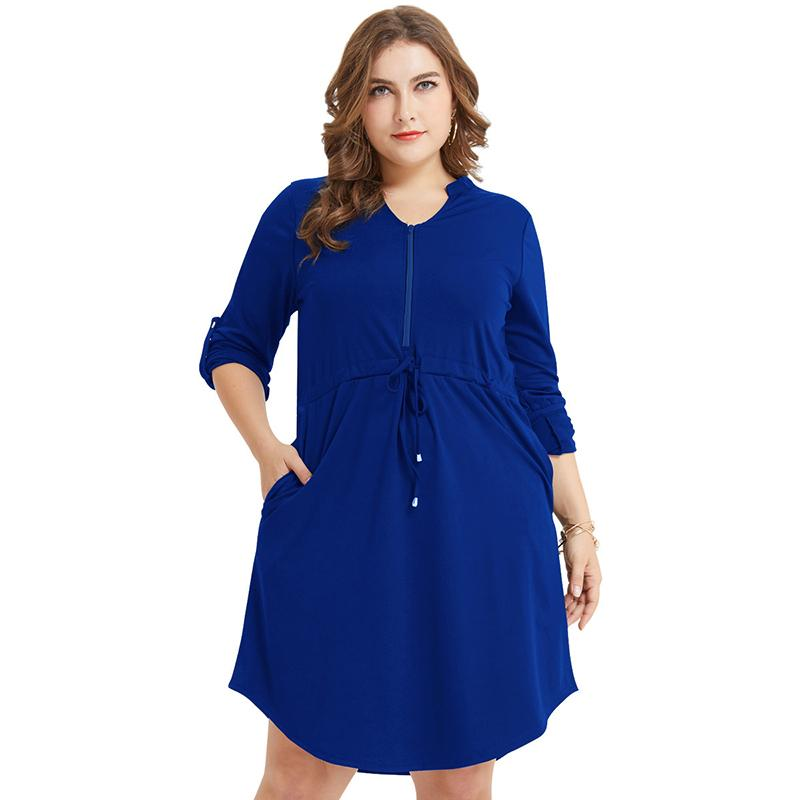 Plus Size Drawstring Solid Color Dress