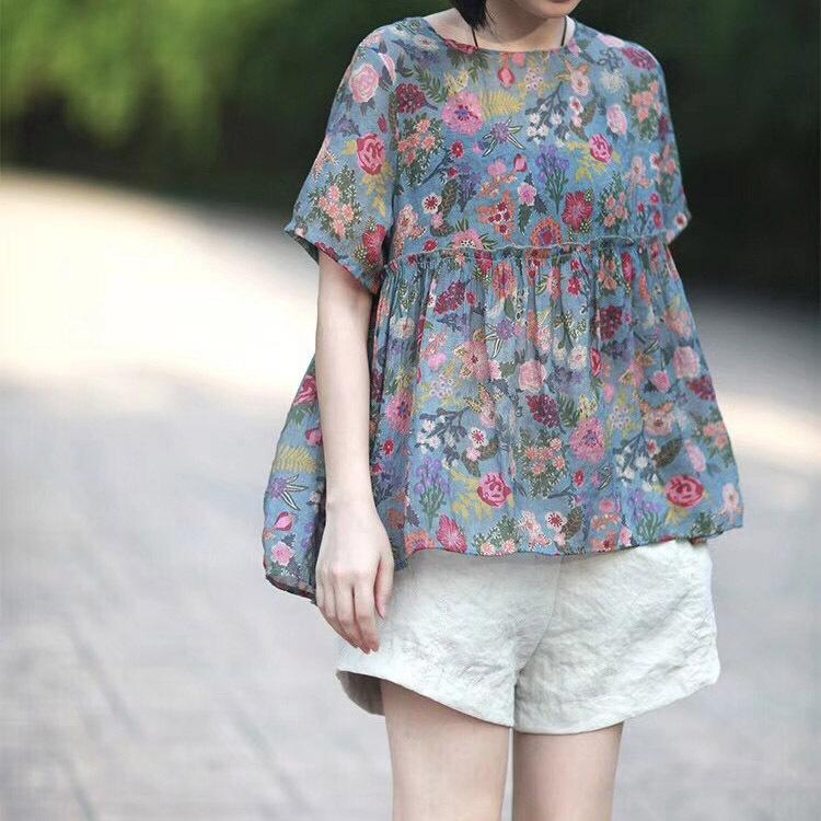 Buykud Hand-Made Floral Short Sleeve Cotton Blouse