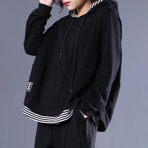 Black Stripe Patchwork Casual Pullover Hoodie