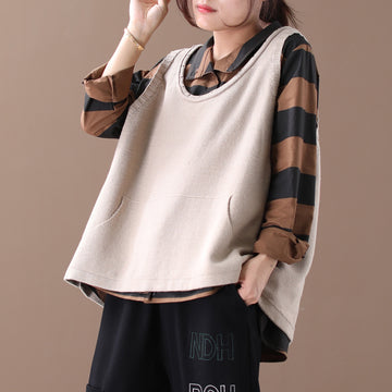 Buykud Front Pocket Pure Color Knitted Waistcoat