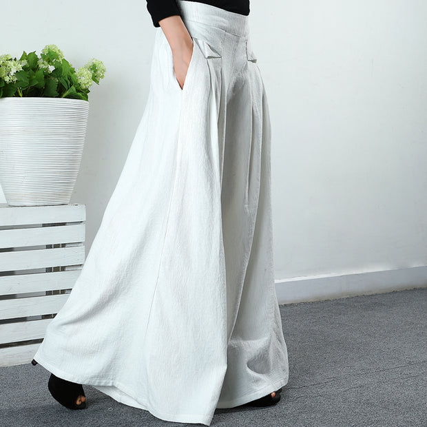 Buykud Comfortable Solid Color Loose Wide Leg Pants