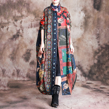 Buykud Casual Beautiful Printed Irregular Stitching Coat