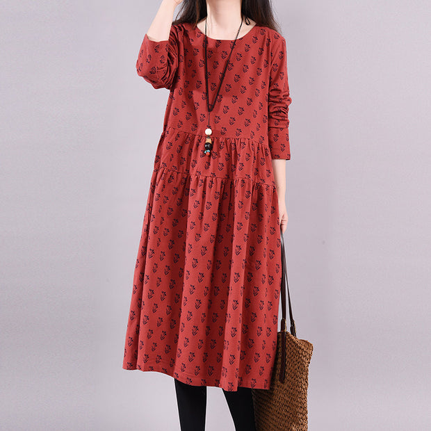 Buykud Casual Plant Printed O-Neck Pullover A-Line Dress