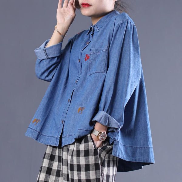 Embroidery Denim Long Sleeve Floral Blouse