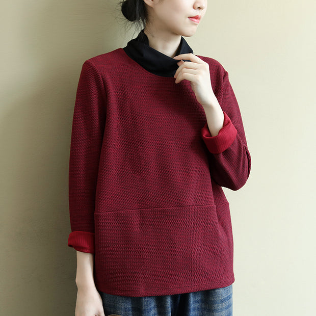 Buykud Autumn High-neck Solid Color Casual Blouse
