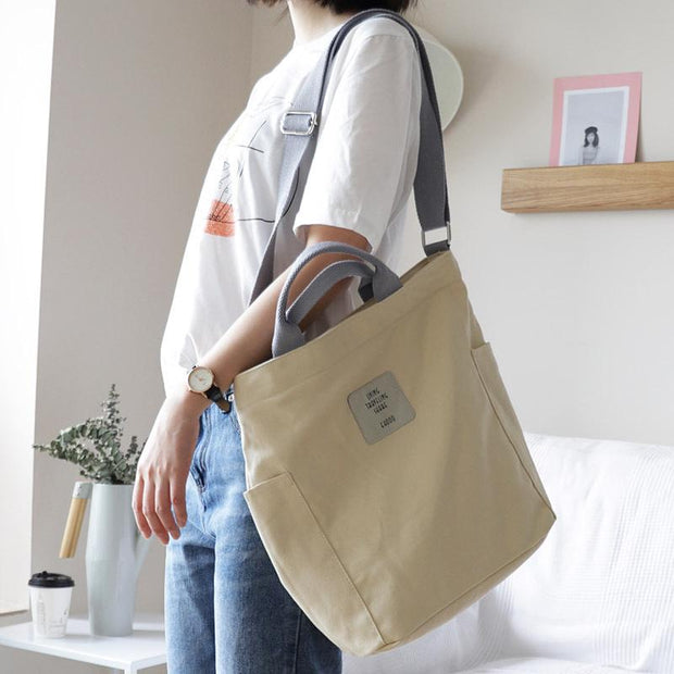 Casual Patchwork Large Canvas Shoulder Bag