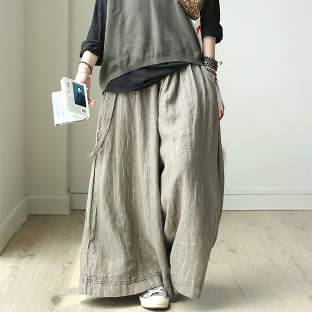 Buykud Vertical Stripe Casual Wide Leg Pants