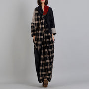 Buykud Stripe And Plaid Irregular Spliced Retro Loose Dress