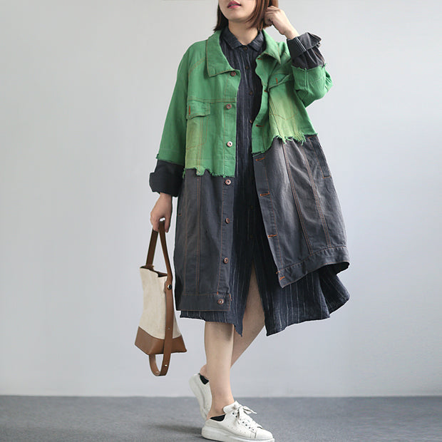 Buykud Color Matching Spliced Casual Denim Trench Coat