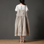 Beige Cotton Linen Loose Women Pleated Casual Dress