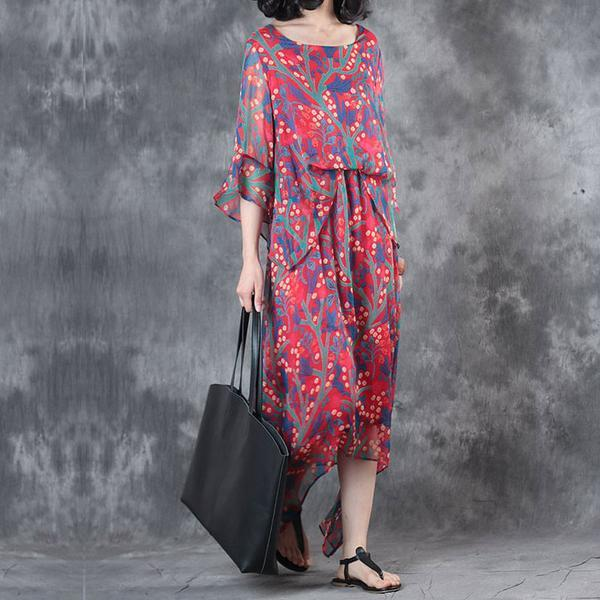 Elegant Printing Irregular Summer Women Dress