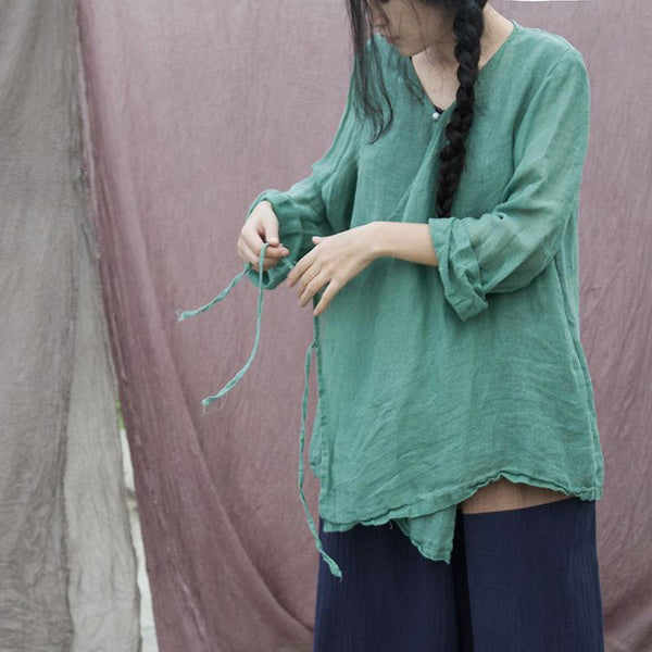 Drawstring Casual Linen Cardigan Shirt Coat